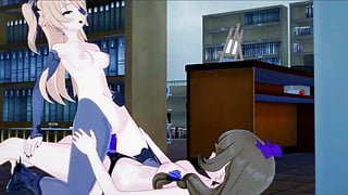 Lisa fucking Fischl in library with strapon. Lesbian Hentai.